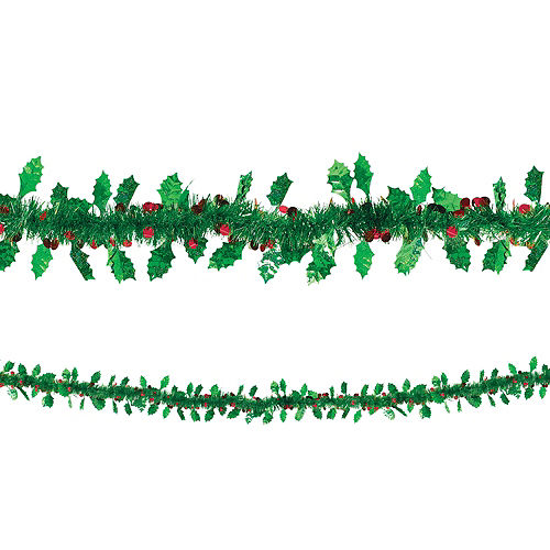 Holly Leaves & Berries Tinsel Garland Image #1