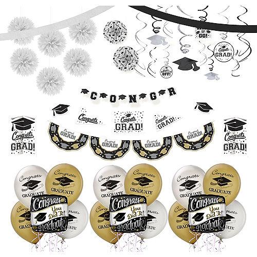 Black, Gold & Silver Graduation Decoration Party Kit Image #1