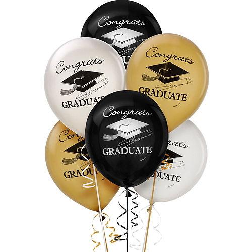 Black, Gold & Silver Graduation Decoration Party Kit Image #5