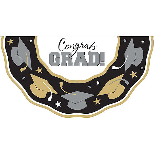 Black, Gold & Silver Graduation Decoration Party Kit Image #8