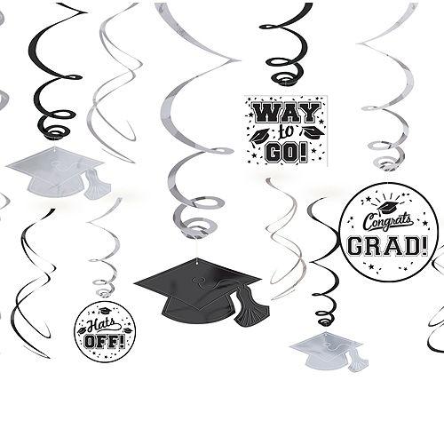 Black, Gold & Silver Graduation Decoration Party Kit Image #10