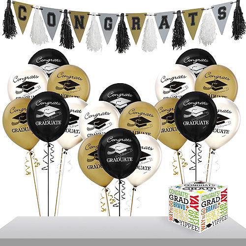 Black, Gold & Silver Graduation Gift Table & Sign In Kit Image #1