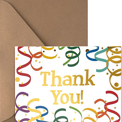 Metallic Streamers Thank You Notes 20ct Image #1
