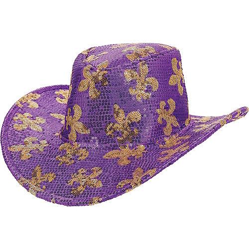 Sequin Mardi Gras Cowboy Hat Image #1