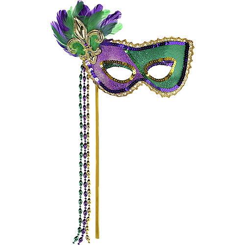 Sequin Mardi Gras Masquerade Mask on a Stick Image #1