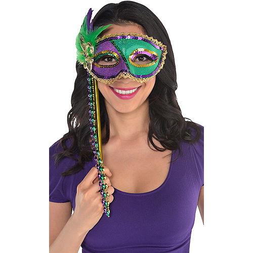 Sequin Mardi Gras Masquerade Mask on a Stick Image #2