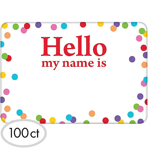 Rainbow Dots Border Hello Name Tags 100ct Image #1