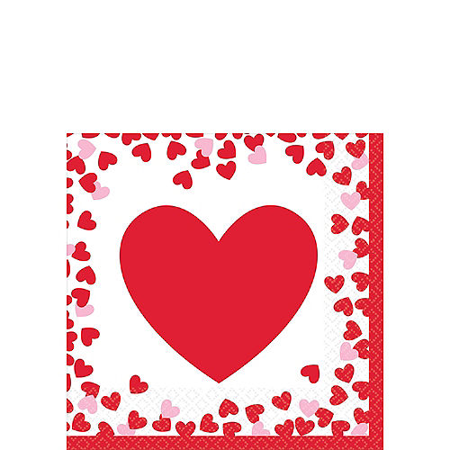 Confetti Hearts Valentine's Day Beverage Napkins 16ct Image #1