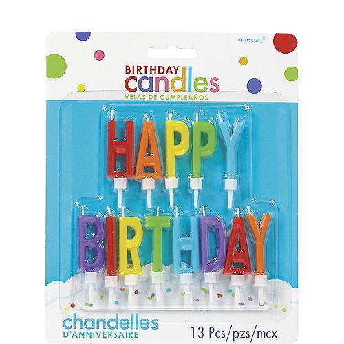Rainbow Happy Birthday Toothpick Candle Set 13pc Image #1