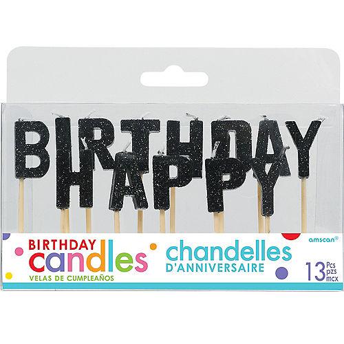 Glitter Black Happy Birthday Toothpick Candle Set 13pc Image #1