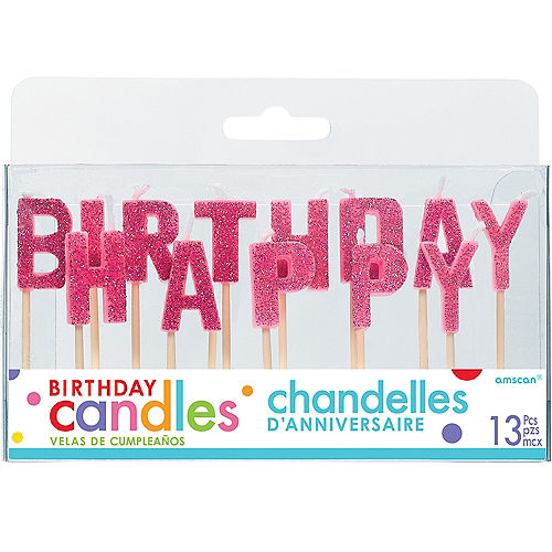 Glitter Pink Happy Birthday Toothpick Candle Set 13pc Image #1