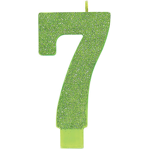 Giant Glitter Kiwi Green Number 7 Birthday Candle Image #1