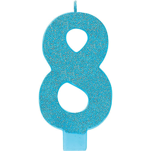 Giant Glitter Caribbean Blue Number 8 Birthday Candle Image #1