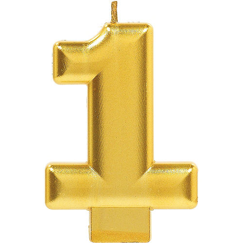 Gold Number 1 Birthday Candle Image #1