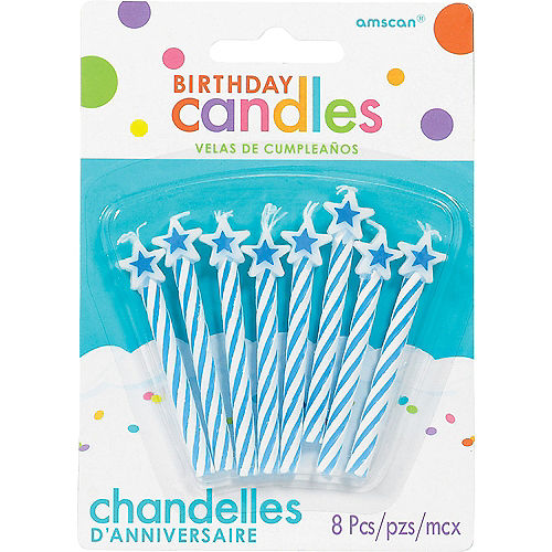 Blue Star Spiral Birthday Candles 8ct Image #1