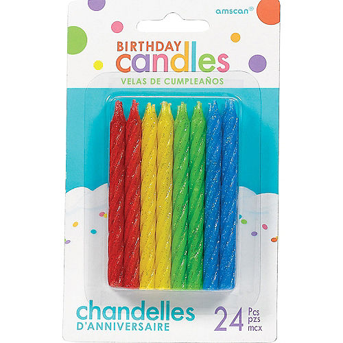 Glitter Multicolor Spiral Birthday Candles 24ct Image #1