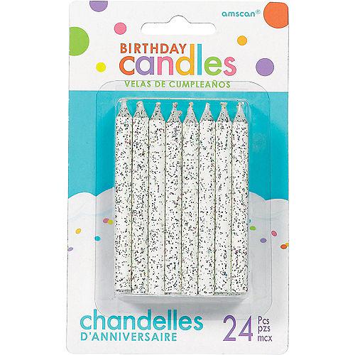 Glitter White Birthday Candles 24ct Image #1