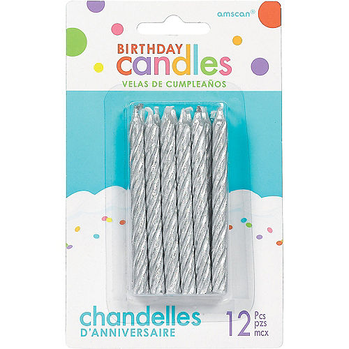 Silver Spiral Birthday Candles 12ct Image #1