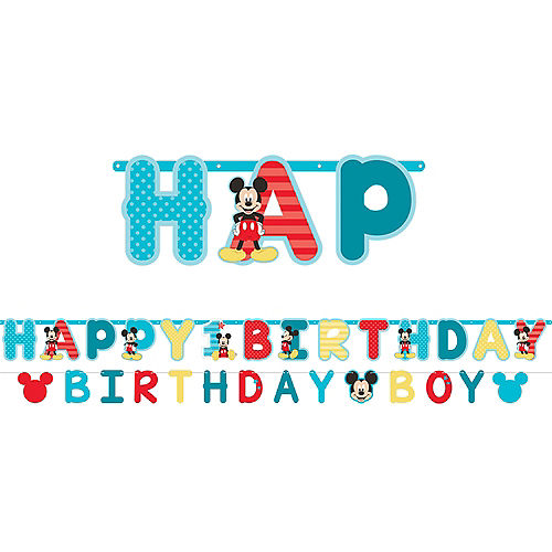 1st Birthday Mickey Mouse Letter Banner Kit 2pc Image #1