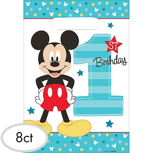 1st Birthday Mickey Mouse Favor Bags 8ct Image #1