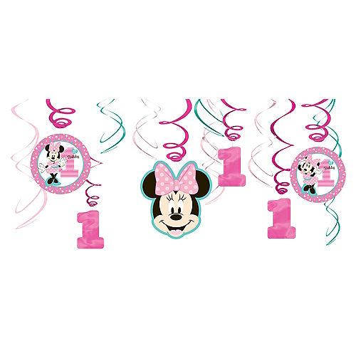 1st Birthday Minnie Mouse Swirl Decorations 12ct Image #1
