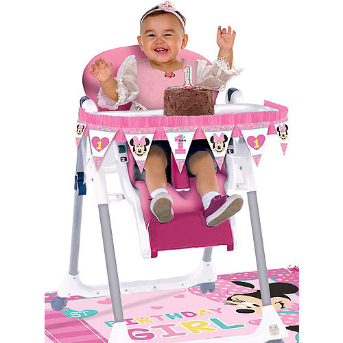 1st Birthday Minnie Mouse High Chair Decorating Kit 2pc Image #1