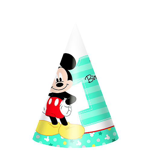 1st Birthday Mickey Mouse Party Hats 8ct Image #1