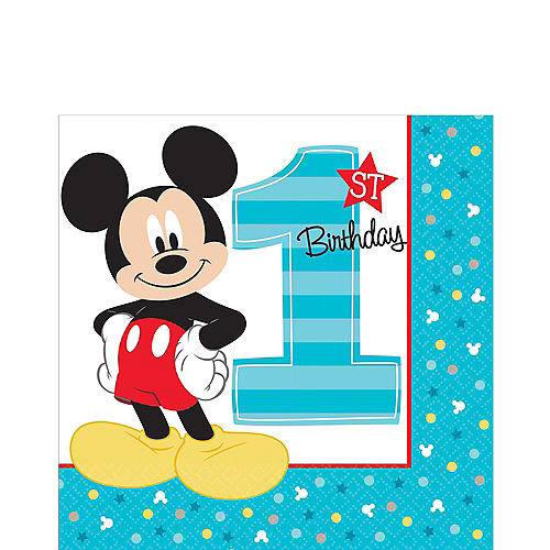 1st Birthday Mickey Mouse Lunch Napkins 16ct Image #1