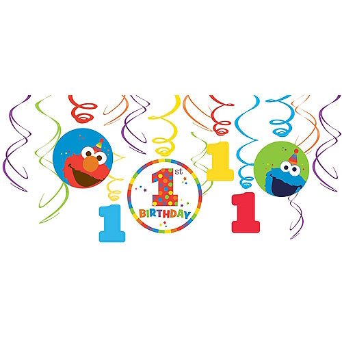 1st Birthday Elmo Swirl Decorations 12ct Image #1