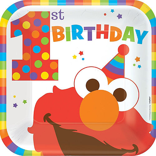 Nav Item for 1st Birthday Elmo Lunch Plates 8ct Image #1
