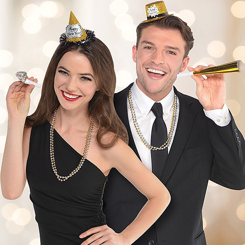Glitter Black, Gold & Silver New Year's Party Kit for 10 Guests Image #3