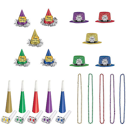 Glitter Colorful New Year's Party Kit for 10 Guests Image #1