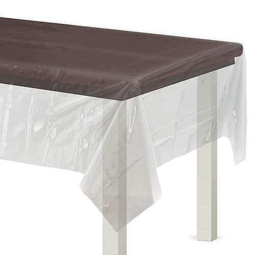 CLEAR Plastic Table Cover Image #1