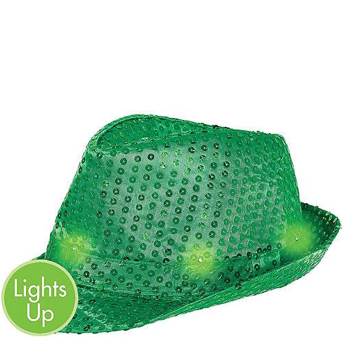 Light-Up Sequin Green Fedora Image #1