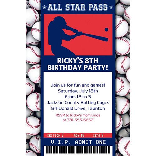 Custom Baseball Ticket Invitation Image #1