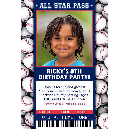 Custom Baseball Ticket Photo Invitation Image #1