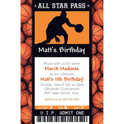 Custom Male Basketball Ticket Invitation Image #1