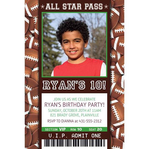 Custom Football Ticket Photo Invitation Image #1