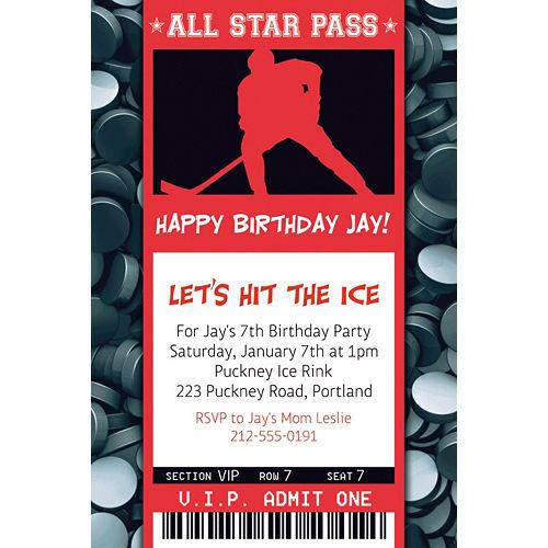 Custom Hockey Ticket Invitation Image #1