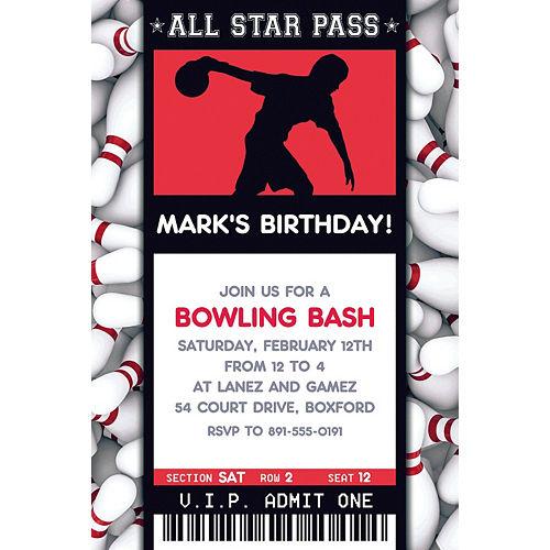 Custom Male Bowling Ticket Invitation Image #1