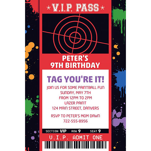 Custom Paintball Ticket Invitation Image #1