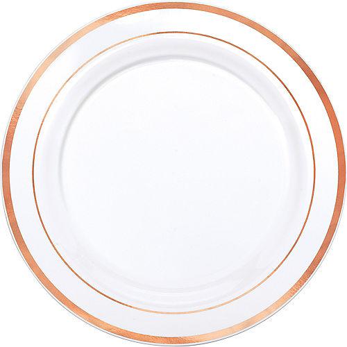 White Rose Gold Trimmed Premium Plastic Dinner Plates 10ct Image #1
