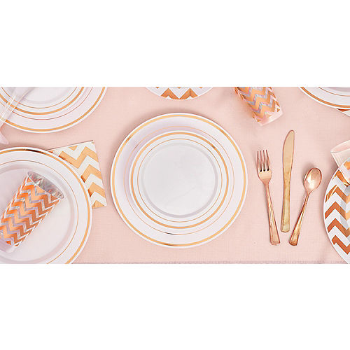 White Rose Gold Trimmed Premium Plastic Dinner Plates 10ct Image #2