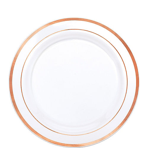 White Rose Gold Trimmed Premium Plastic Lunch Plates 20ct Image #1