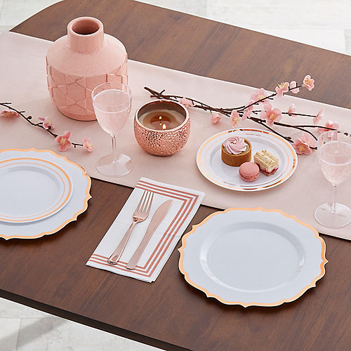 White Rose Gold Trimmed Premium Plastic Lunch Plates 20ct Image #2