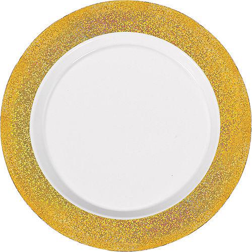 White Prismatic Gold Border Premium Plastic Dinner Plates 10ct Image #1