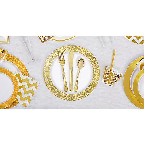 White Prismatic Gold Border Premium Plastic Dinner Plates 10ct Image #2
