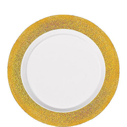 White Prismatic Gold Border Premium Plastic Lunch Plates 20ct Image #1