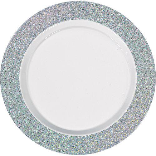 White Prismatic Silver Border Premium Plastic Dinner Plates 10ct Image #1