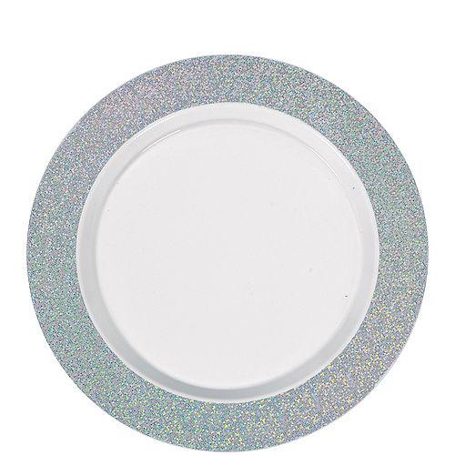 White Prismatic Silver Border Premium Plastic Lunch Plates 20ct Image #1